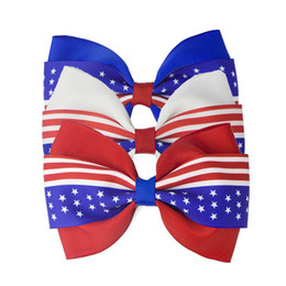 Hair clips barrettes online shopping - American flag print Barrettes Bow Hair Clip hairpins Hair Bow With Clip th of July kids Thread Children Hair Accessories
