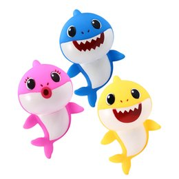 Favor Toys Australia - 18cm Cartoon Baby Shark Toys Singing Songs Lighiting Toy 3 Candy Colors Chlid Party Favor lovely gift MMA1763