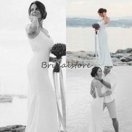 Petite Wedding Gown Pink Australia - Simple Spaghetti Straps Beach Wedding Dresses Deep V Neck Floor Length Low Back Cheap Boho Wedding Dresses 2019 Sleeveless Bridal Gowns