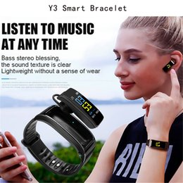 Smart Watch Tracker Australia - Smart Bracelet Y3 And Bluetooth Headphone With Mic Two-in-one Talkband Y3 Fitness Tracker Smartband Speaker Watch For Iphone Samsung Huawei
