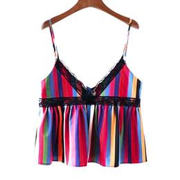 22be71dd4d13a Summer 2019 shirt Women Lace Sleeveless Deep V-Neck Striped Blouse Backless Tank  Tops Summer Female T Shirt Cute Cropped Top