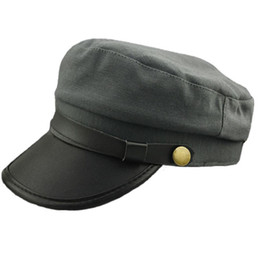 2ca81883591 Army Cadet Military Navy Sailor Flat Top Hat Unisex Men Women Leather  Buckle Cap