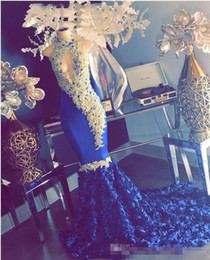 $enCountryForm.capitalKeyWord NZ - Sexy Keyhole High Neck Mermaid Royal Blue Prom Dresses Gold Lace Appliques Beaded 3D Flowers Long Train Plus Size Evening Gowns