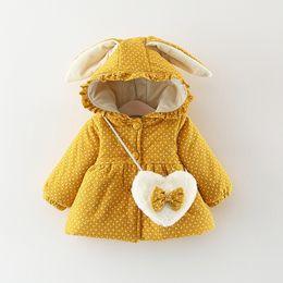 b2a50f0df3 Winter Girls Bag NZ - Children Warm Winter Baby Girls Infant Kids Rabbit  Ear Hooded Thicken