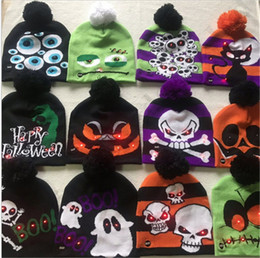 Cartoon skull Caps ears online shopping - LED Lights Luminous Beanies Knit Winter Cartoon Skull Pom Hat Snowman Christmas hallowmas Xmas Halloween Skull Pumpkin Hat Ski Cap B82103