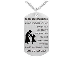 $enCountryForm.capitalKeyWord UK - wholesale 8pcs lot To My Granddaughter love grandpa Grandma necklace Stainless Steel Dog Tag Charm Pendant Necklace Gift Jewelry