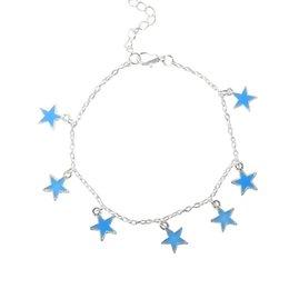 $enCountryForm.capitalKeyWord Australia - 2019 new fashion Girls Gift Blue Five-pointed Star Tassel Fluorescent Anklet For Valentine's Day Foot Chain hot