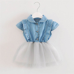 denim style for babies 2019 - Baby girls dress summer newborn baby denim+lace splice wedding dress for bebe girls toddler party dress clothing 2019 ne