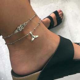 Discount flower bohemian sandals - Bohemian Silver Mermaid Fish Tail Anklets Sandals Anklets Foot Jewelry for Women Female Carved Flower Charm Barefoot Cha
