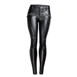 women s skinny jeans Australia - QIN AJILI PU Black Moto & Bike Pencil Pants Mid Waist Zippers Vintage Women 's Jeans Cotton Skinny Fashion Winter Full Length