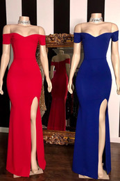 $enCountryForm.capitalKeyWord NZ - Simple Sexy Off-the-shoulder Evening Dresses Floor-Length Side-Split Sheath Prom Dresses Real Pictures Plus Size Special Occasion Dresses