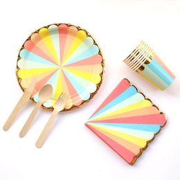 paper cup party supplies NZ - 57Pcs set Disposable Tableware Rainbow Paper Party Cup Plate Straw Party Tableware Wedding Decor Birthday Party Supplies