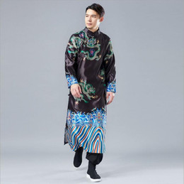 $enCountryForm.capitalKeyWord NZ - Retro Chinese Style Long Silk Clothes China Enthnic Costume Autumn Embroidery Dragon pattern chinese traditional Long Gown Robe