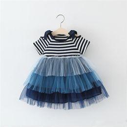 Cute korean dress skirt online shopping - Summer New Korean Girls Stripe Stitching Cake Skirt Princess Dress for Children baby girl cute tutu skirts