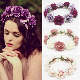 hair decorations for brides 2019 - 10pcs MOQ Rose Flower Headband Floral Crown Hair Accessories for Wedding Bride Wreath Decoration, Christmas Rave Party B