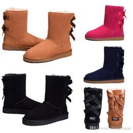 Зима Австралия классический снег сапоги высокое качество WGG высокие сапоги из натуральной кожи Bailey бантом женские Bailey лук колено сапоги обувь размер США 5-10 на Распродаже