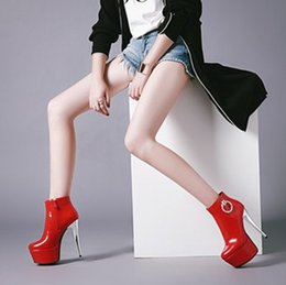 white stiletto snow boots NZ - New Arrival Hot Sale Specials Super Fashion Influx Cowgirl Catwalk Stiletto Red Wedding Stage Round Toe Banquet Heels Ankle Boots EU32-48