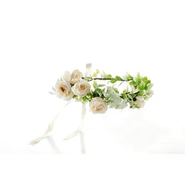 Cheap Flower Crowns UK - Cheap gift newly married artificial flower crown garland for hair decoration