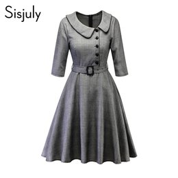 85dc5187e6b Sisjuly Women Spring Fall Winter Peter Pan Collar Single Breasted Belt  Black Houndstooth Plaid Dress Office Lady Work Dresses Y190425