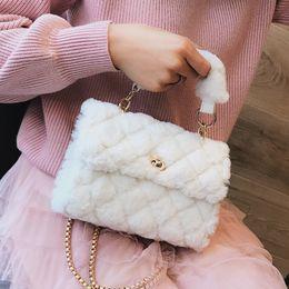 Plush Bag Lady Australia - Korean Fashion Sweet Lady Tote Bag 2018 Winter New Quality Soft Plush Women's Designer Handbag Chain Shoulder Messenger Bags J190616