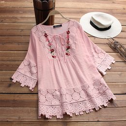 $enCountryForm.capitalKeyWord Australia - 2018 Autumn Plus Size Women Lace Crochet Blouse Solid Casual O Necke Top Summer Loose Patchwork Lace-up Shirt Blusas Work Shirts J190613