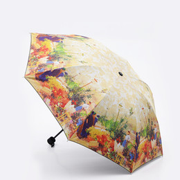 umbrellas flowers UK - Europe Scenery Pattern Rain sun Umbrella Folding Thickening Abstract Art Design Women Umbrella Flower Painting Umbrellas T8190619