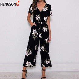 romper jumpsuit bohemian Australia - Fashion Women Romper New Summer Jumpsuit Plus Size Casual V Neck Beach Wear Printed Pocket Sashes Jumpsuit Overalls Office Lady T190823