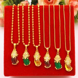 $enCountryForm.capitalKeyWord NZ - New copper plated Vietnam sand gold diamond red agate necklace female jewelry wedding gold imitation gold necklace jewelry does not fade
