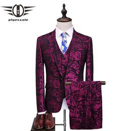 Beige Slim Suits For Men Australia - Plyesxale Floral Suit Men 2018 Purple Rose Flower Pattern Wedding Suits For Men 4XL 5XL Slim Fit Mens Party Prom Suits Q357