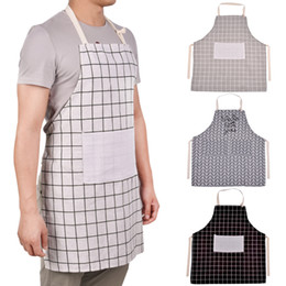 $enCountryForm.capitalKeyWord Australia - High-grade Waterproof Lady Women Men Chef BBQ Cafe Adjustable Cotton Linen Cooking Kitchen Apron For Cooking Baking Restaurant