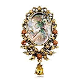 $enCountryForm.capitalKeyWord Australia - Setting Cameo Shell Beauty Head Brooch Hollow Out Flower Vintage Style Elegant Wedding Queen Bouquet Brooch Pins Dropshipping