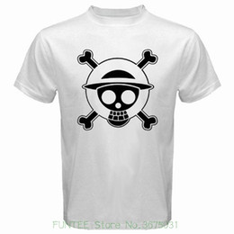 pirates logos 2019 - Fashion Unique Classic Cotton Men New One Piece Pirates Skull Logo Luffy Anime Men's White T-shirt Size S To 3xl ch
