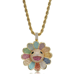 gold sunflower pendant NZ - 18K Gold Plated Colorful Rotating Sunflower Pendant Necklace Twist Chain Hip Hop CZ Zirconia Jewelry Gifts for Women & Men Wholesale