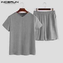 Wholesale men s summer pajamas resale online - Men Pajamas Sets Summer Casual Homewear Solid Short Sleeve V Neck Breathable Nightgown Shorts Men Sleepwear Sets S XL INCERUN