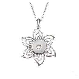 $enCountryForm.capitalKeyWord Australia - Hollow Flower Metal Snap Pendant Necklace With 50+5 Chains Fit 18mm Snap Buttons Fashion DIY Accessories For Jewelry 10PCS