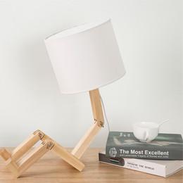 Folding Art Table Australia - Wooden Minimalist Reading Table Lamps Creative Personality Robot Flexible Folding Small Table Light Wood Bedside Lamp Art Deco