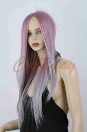 Silver Purple Wig Australia - New Women Fashion Long Straight Hair Full Wig Lolita Ombre Silver Purple Wigs