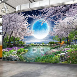 cherry tree paintings Canada - Dropship Custom Mural Wall Paper Moon Cherry Blossom Tree Nature Landscape Wall Painting Living Room Bedroom Photo Wallpaper Home Decor