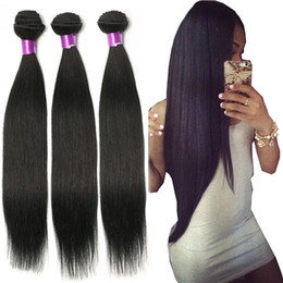 Loose wave 24 inch braziLian online shopping - 9A Brazilian Straight Virgin Hair Wefts Bundles Unprocessed Brazilian Straight Body Wave Loose Wave Curly Human Hair Extensions
