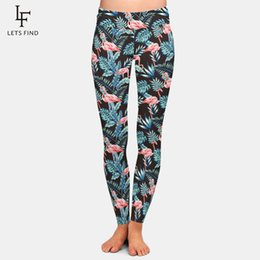 Black Milk Leggings Sizing Australia - New Plus Size Leggings Women 3d Print Flamingo High Waist High Elasticity Cool Black Milk Silk Leggings Free Shipping