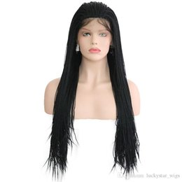 natural braid styles UK - Hot Selling African Style Black Braids Synthetic Lace Front Wigs Handmade 24'' 2X Twist Braided Wigs With Baby Hair Natural Wigs F
