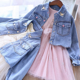 clothing boutique suits Australia - 2Color fashion swan girls suits Boutique girls outfits denim coat jacket+ sequin Tutu dresses 2pcs set kids designer clothes girls B1026