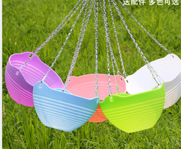 Hanging Plastic Green Flowers Australia - Wholesale Resin Plastic Gardening Lantern Basin Balcony Color Hanging Wall Hanging Flower Pot with Hanging Chain