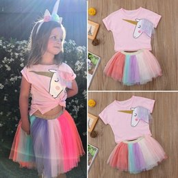$enCountryForm.capitalKeyWord UK - Summer Toddler Kids Baby Girl Unicorn Top T-shirt Lace Tutu Skirt Outfits Set Clothes