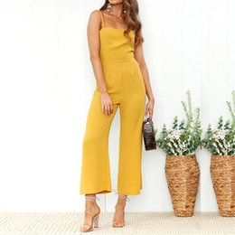 Strapless Black Jumpsuit NZ - Women Spaghetti Strap Jumpsuit Strapless Sleeveless Backless Playsuit Adjustable Strap High Waist Elegant Ankle-length Overalls
