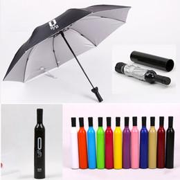 Umbrella wine online shopping - Wine Bottle Umbrella Portable Folding Sun Rain Anti UV Gift Umbrella Creative Red Wine Bottle Shaped Case MMA2324