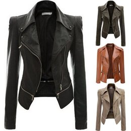 $enCountryForm.capitalKeyWord Australia - Women PU Leather Jacket Coat Slim Women Leather Jacket Motorcycle Zipper Long Sleeve Jackets Plus Sizes