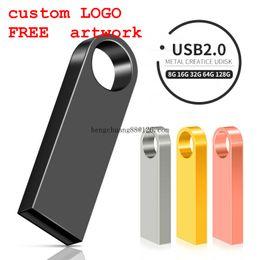 Nova unidade flash USB 64GB 32GB 128GB Pen drive 128 64 32 GB pendrive impermeável metal prata u disco memoria USB stick em Promoção