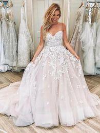 $enCountryForm.capitalKeyWord NZ - Classic Beauty Thin Spaghetti Straps Biscuit Blush Ball Gown Wedding Dress 2019 Numerous Lace Appliques Princess Wedding Dress Bridal Gown