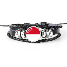 $enCountryForm.capitalKeyWord Australia - New Arrival Leather Rope Beaded Bracelets Women Men Monaco National Flag World Cup Football Fan Time Gem Glass Dome Button Jewelry Best Gift